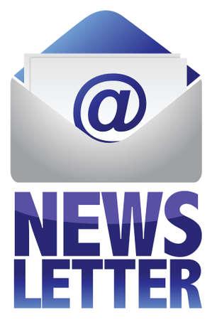텍스트와 이메일 일러스트 디자인의 뉴스 레터 개념 이미지 일러스트