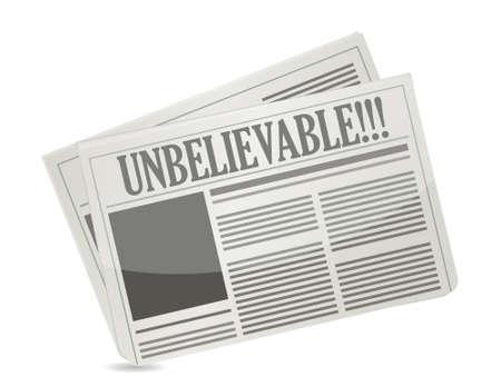 newspaper headline reading unbelievable illustration design over white