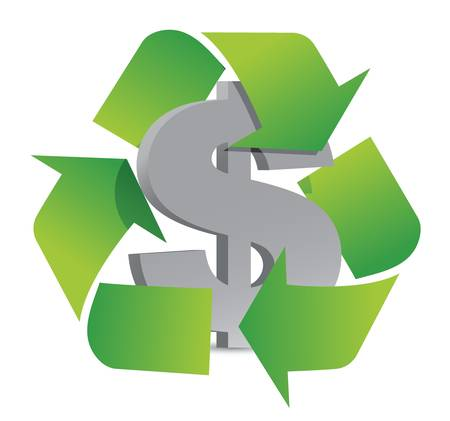 salaries: dollar recycle illustration sign over a white background