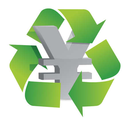 greenbacks: yen recycle illustration sign over a white background Illustration