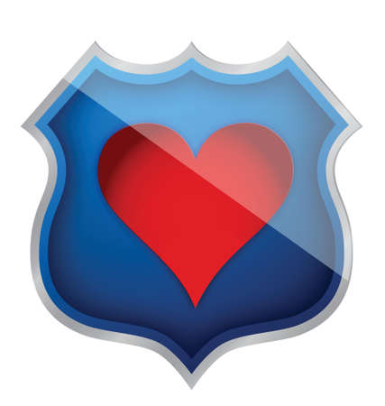 illustration of a heart symbol on a shield icon over white Vector