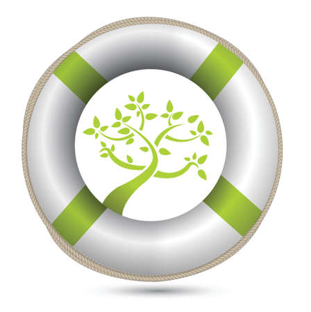 sos lifesaver eco environment illustration design over white Vector