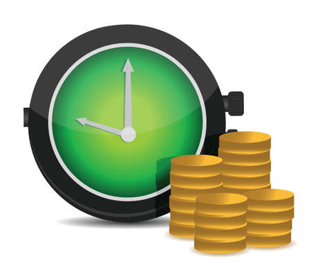 Alarm clock and money illustration design over a white background Vector