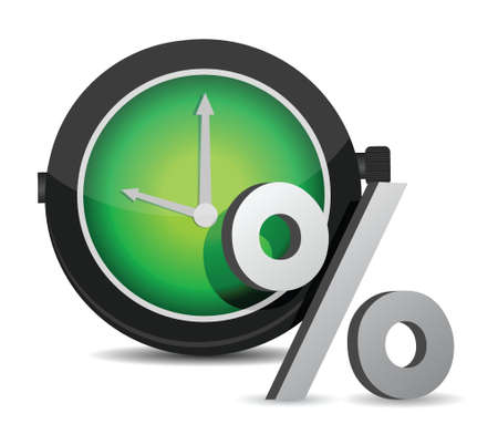 passive earnings: watch percentage illustration design over a white background
