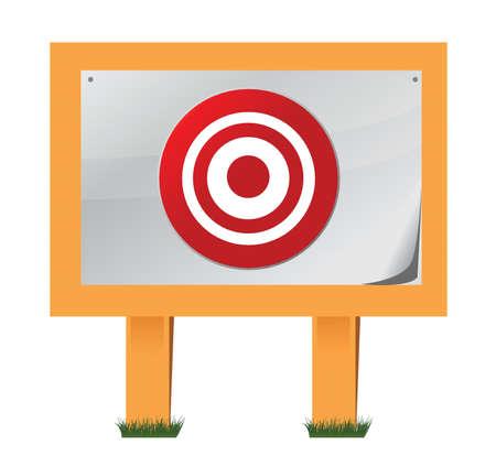 target placed on wooden boards illustration design over white Ilustrace