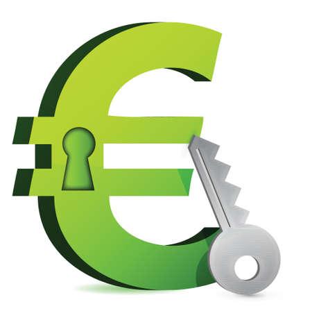 euro lock and key illustration design over white