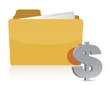 dollar sign and folder illustration design over a white background Vector