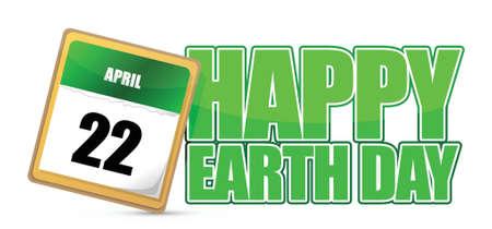 Earth day calendar april 22 illustration design over white Illusztráció