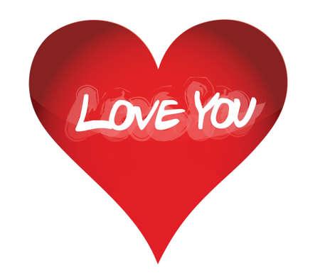 love you red heart illustration design over white Stock Vector - 16751231