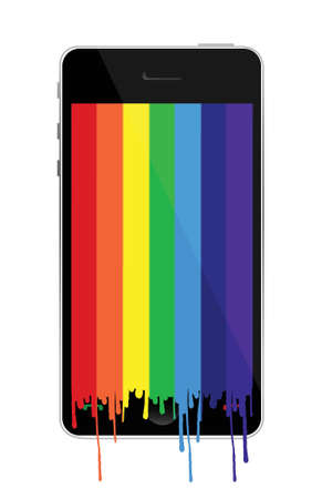 Smartphone with rainbow paint dropping illustration design over white Stock Vector - 16751190