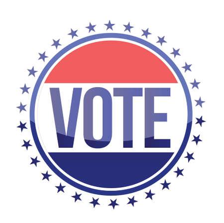 red white and blue vote seal illustration design