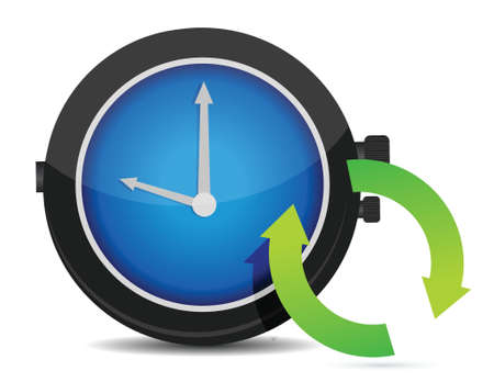 pending: Refresh icon on a blue watch illustration design