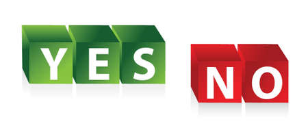 yes no: Yes No - 3d red green cubes with text illustration design