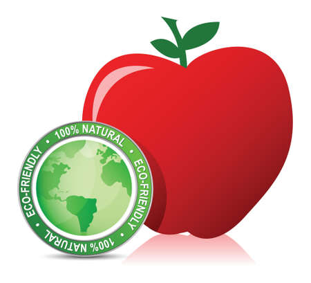 red apple with bio seal illustration design over white Stock Vector - 16838607