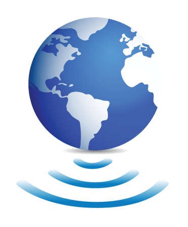 one world globe with wireless connection illustration design Vector
