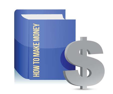 make money: how to make money book illustration design over white Illustration
