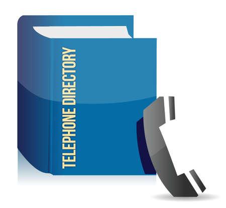 directorio telefonico: Directorio telef�nico azul dise�o ilustraci�n sobre un fondo blanco
