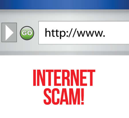 scammer: internet browser with an internet scam concept Illustration