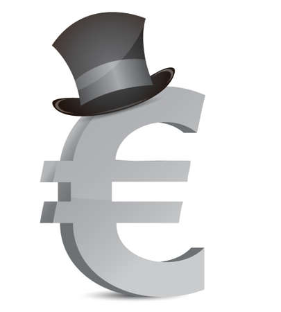 euro currency and hat illustration design over white Stock Vector - 16836846