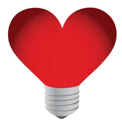 Lightbulb heart illustration isolated on white background Stock Vector - 16837106