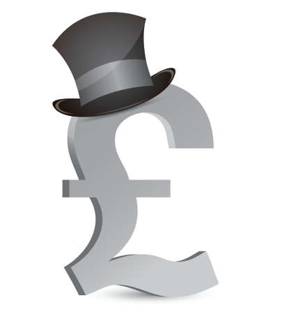 pound currency and hat illustration design over white Stock Vector - 16836832