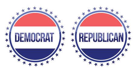 democrat and republican seals illustration design over white