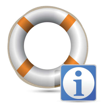 blue word INFO with an orange/white lifebelt illustration Stock Vector - 16838654