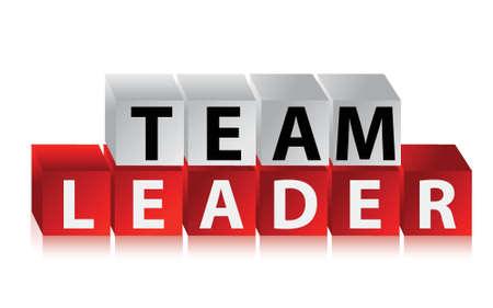 teamleider: Team Leader - tekst met rode blokjes illustratie ontwerp