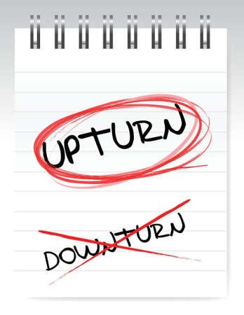 Upturn, crossed out the word downturn illustration design Illustration