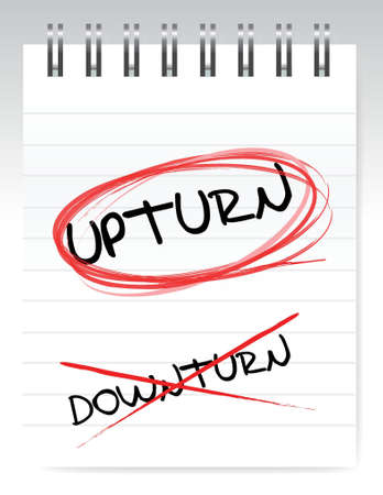 crossed out: Upturn, crossed out the word downturn illustration design Illustration