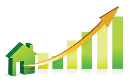 home value: Concept rising property value illustration design over white