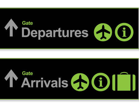 time fly: Signal arrival - departures from the airport illustration design