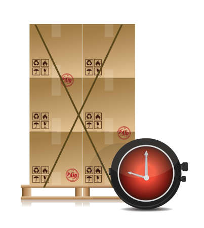 pallet and some cartons with a stopwatch illustration design