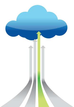clouds cartoon: Cloud Computing mejor conexi�n dise�o gr�fico ilustraci�n