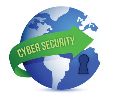 network security: Cyber Security Arrow With Lock on The Globe illustration design graphic
