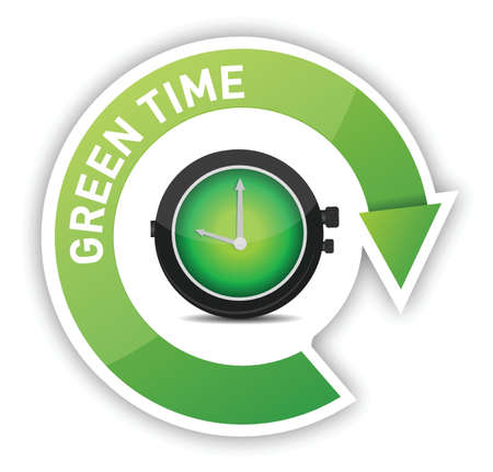 eco clock green time illustration design over white