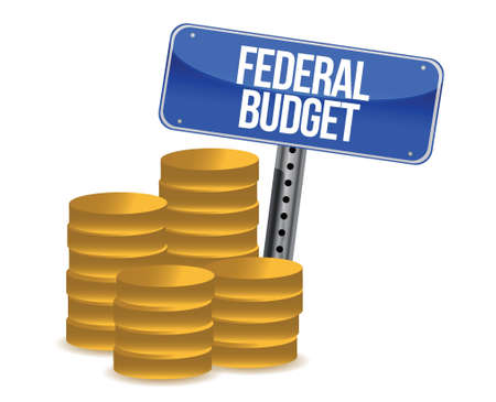 Federal budget coins illustration design over a white background