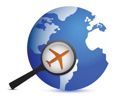 intercity: plane in magnifier on planet background illustration design