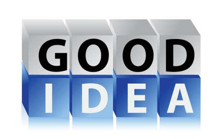 goed idee: goed idee letters en kubussen illustratie ontwerp