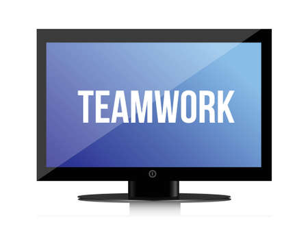 succes: Teamwork copy on a flatscreen illustration design graphic