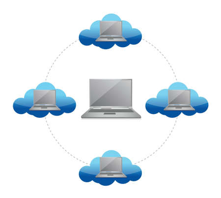 hub computer: Cloud computing concept network laptop illustration design over white