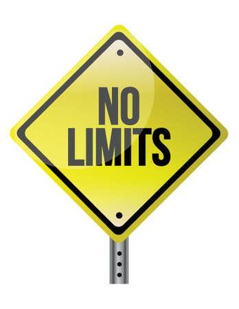 no boundaries: no limit sign concept illustration design over white