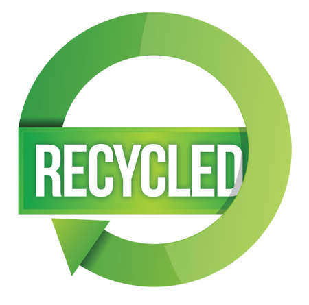 environmental awareness: Green Recycled stamp illustration design over white Illustration