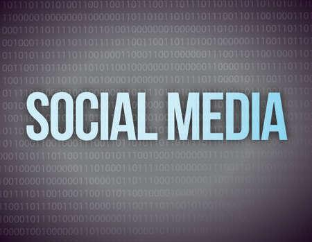 digital marketing: Social media concept in a black binary background Illustration