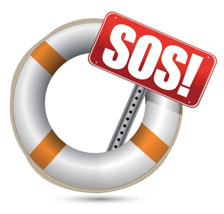 Life Buoy with SOS sign on a white background Stock Vector - 16820022