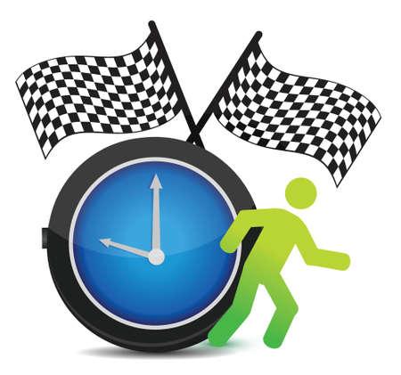time over: Race Against Time concept illustration design over white