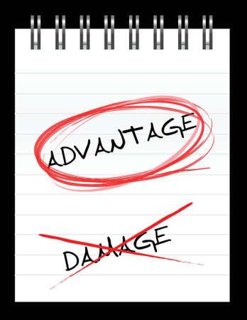 Chose the word ADVANTAGE over DAMAGE illustration design Ilustração