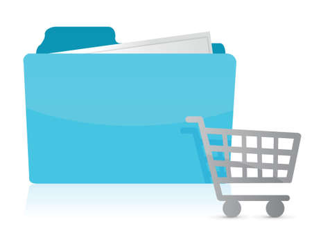 folder with shopping cart Icon illustration design over white Vector