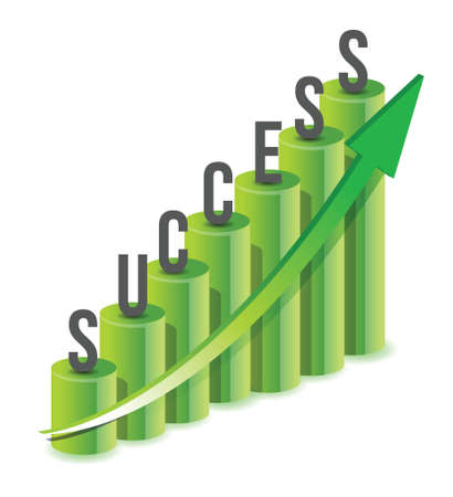 Success growth Chart illustration design over white