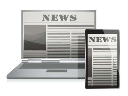 digital news: News Concept with Business Newspaper on Screen illustration design
